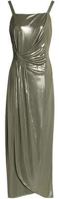 Halston Wrap-Effect Metallic Jersey Midi Dress