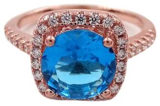 Savvy Cie 18K Rose Gold Vermeil Cushion-Cut Blue Topaz Halo Ring