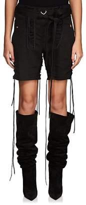 Saint Laurent Women's Cotton-Linen Twill Lace-Up Shorts