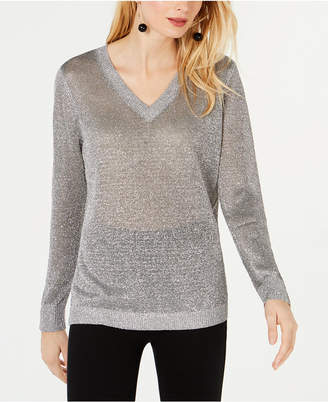 INC International Concepts I.n.c. Metallic V-Neck Pullover Sweater