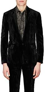 Saint Laurent Men's Uneven-Striped Velvet One-Button Sportcoat - Black