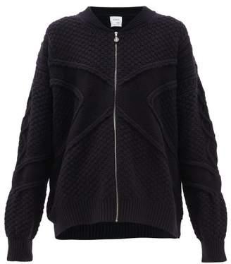 Barrie Cross Jacquard Cashmere Zip Through Sweater - Womens - Dark Navy
