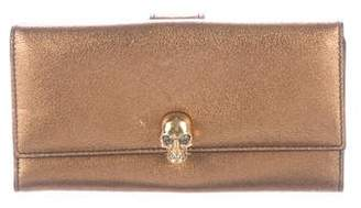 Alexander McQueen Metallic Leather Skull Wallet