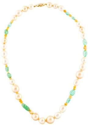Belpearl 14K Pearl, Opal & Emerald Bead Strand Necklace