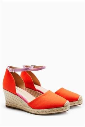 Next Womens Orange Espadrille Wedges