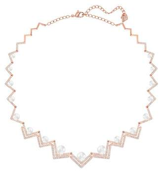 Swarovski Edify Geo Crystal & Faux Pearl Collar Necklace