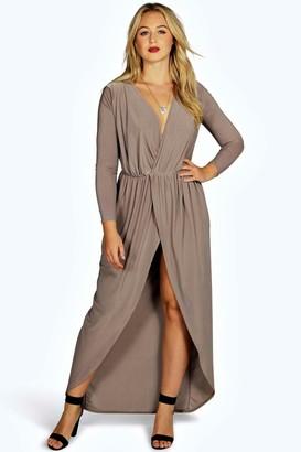 boohoo Plus Slinky Wrap Front Maxi Dress