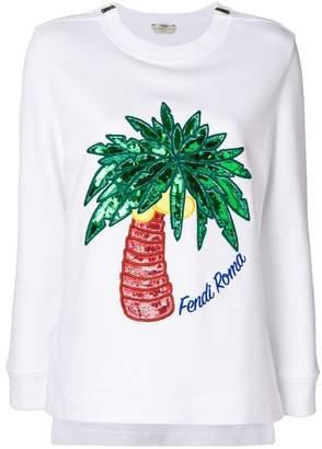Fendi palm embroidered sweatshirt