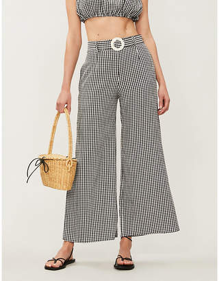 Solid & Striped Gingham high-rise wide-leg seersucker trousers
