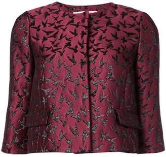 Oscar de la Renta bird-embroidered boxy jacket