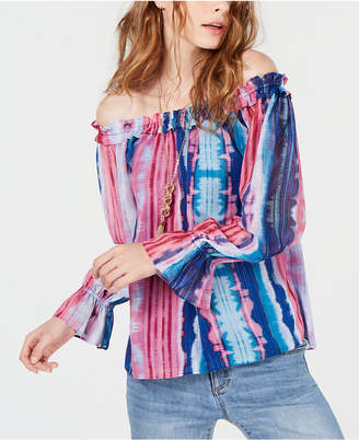 5071e4258b70f INC International Concepts I.n.c. Tie-Dyed Off-The-Shoulder Top