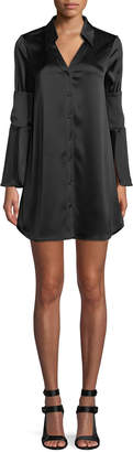 Alice + Olivia Halima Button-Front Double-Cuffed Dress