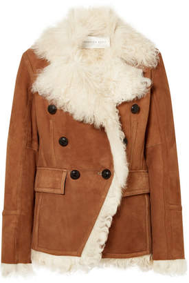 Veronica Beard Huntley Shearling And Suede Double-breasted Blazer - Brown