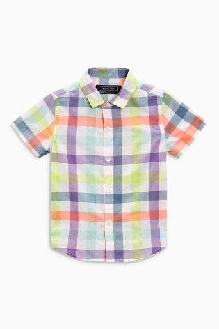 Boys Bright Check Short Sleeve Shirt (3m...