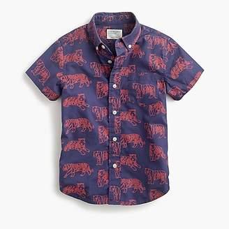 J.Crew Boys' short-sleeve Secret Wash shirt in tigers