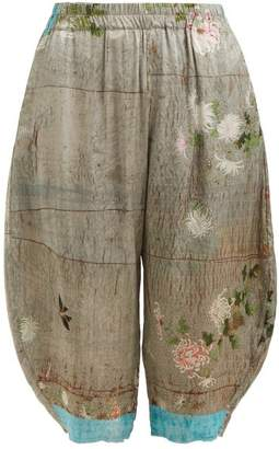 By Walid - Kavita Chrysanthemum Print Silk Cropped Trousers - Womens - Grey Print