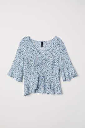 H&M V-neck Drawstring Blouse - Blue