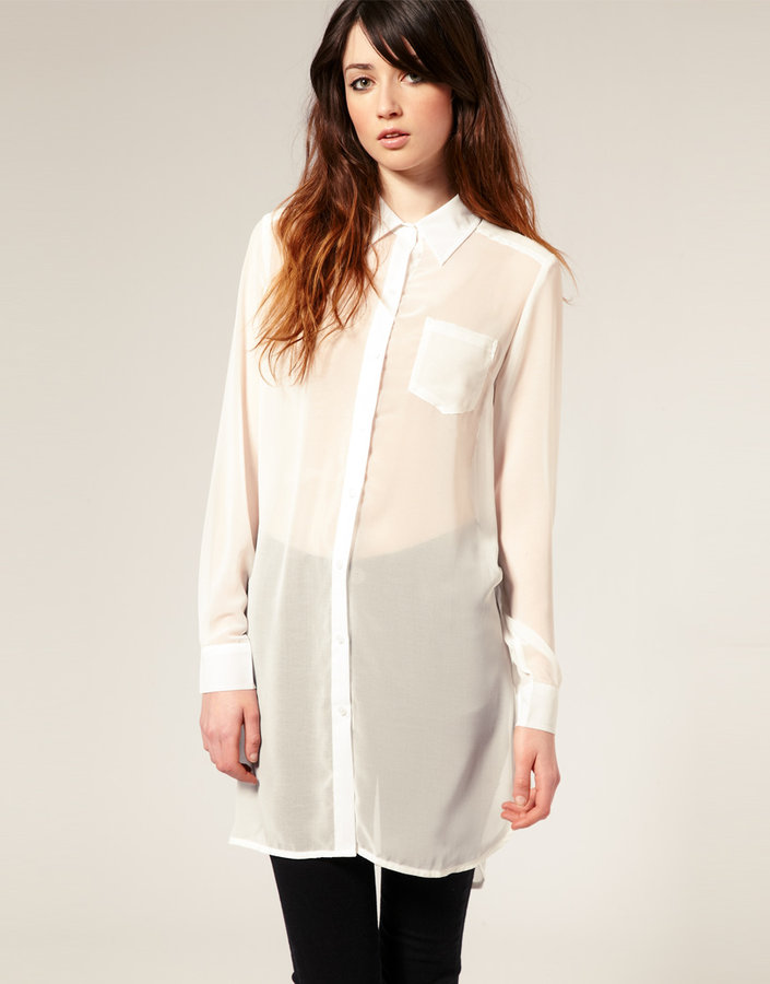 Just Female Oversize Sheer Chiffon Shirt