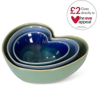 Oliver Bonas Amara Blue Heart Bowls Set of Three