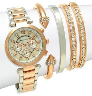 Two-Tone Stainless Steel Bracelet Watch Set $125 thestylecure.com