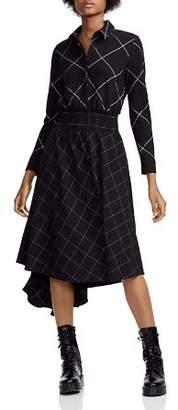 Maje Ralek Checked Asymmetric Midi Shirt Dress