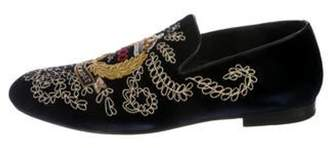 Jimmy Choo Embellished Velvet Loafers navy Embellished Velvet Loafers