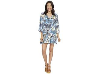 BB Dakota Faira Wandering Floral Printed Rayon Challis Empire Dress Women's Dress