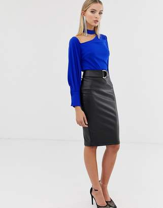 d0387e759 Lipsy faux leather pencil skirt in black