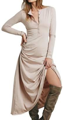 CA Mode Women Summer Sheath T-shirt Straight Shift Maxi Button Down Shirt Dress
