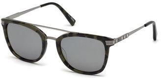 Ermenegildo Zegna Acetate & Chevron Metal Rectangular Glasses, Green Tortoise/Silver $495 thestylecure.com
