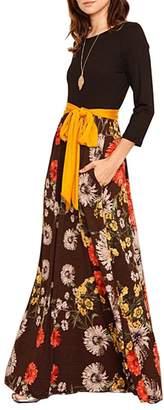 Lrud Women's Loose Floral Print Scoop Neck 3/4 Sleeve Pocket Casual Maxi Dress
