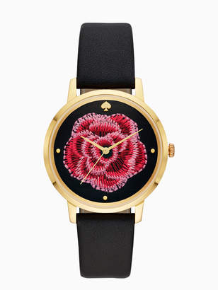 Kate Spade metro embroidered flower black leather watch