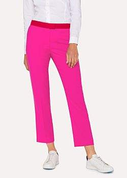 Paul Smith Women's Slim-Fit Fuchsia Wool Trousers With Contrasting Waistband