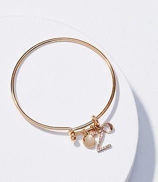LOFT Initial Charm Bangle Bracelet