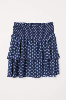 H&M Tiered Skirt with Smocking - Blue