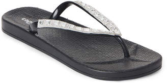 Capelli New York Black Embellished Jelly Thong Sandals