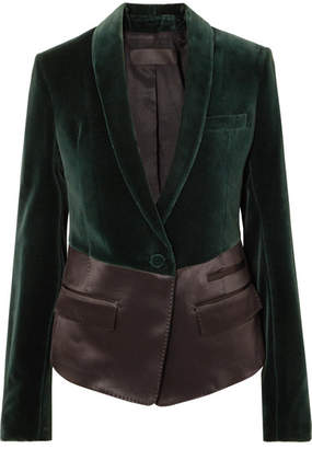 Haider Ackermann Two-tone Satin And Velvet Blazer - Emerald