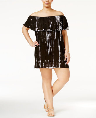Raviya Plus Size Tie-Dyed Off-the-Shoulder Cover-Up Women's Swimsuit $54 thestylecure.com