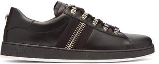 Balmain - Zipper Trimmed Leather Low Top Trainers - Mens - Black Multi