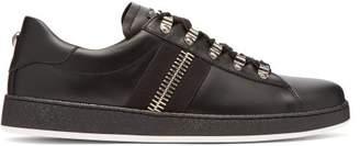 Balmain Zipper Trimmed Leather Low Top Trainers - Mens - Black Multi
