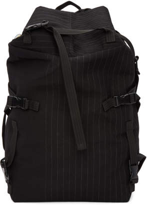 The Viridi-anne Black Pinstripe Multiple Strap Backpack