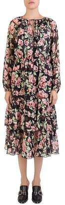 The Kooples Silk Rose-Print Dress