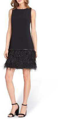 Tahari Crystal Feather Hem Shift Dress