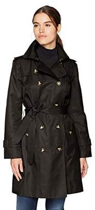 """London Fog Women's Double Breasted 36"""" Trench with Single Flap"""