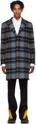 Calvin Klein Grey and Blue Wool Blanket Coat