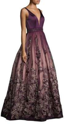 Basix Black Label Sweetheart Floral-Embroidered Gown