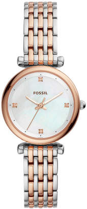 Fossil Women Carlie Two-Tone Stainless Steel Bracelet Watch 29mm