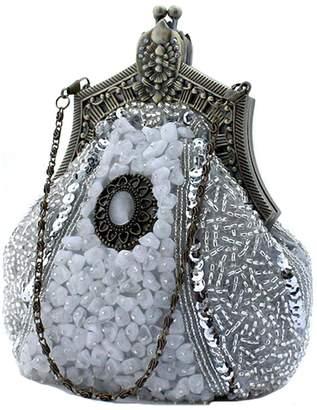 Snowskite Women's Antique Beaded Party Clutch Vintage Purse Evening Handbag