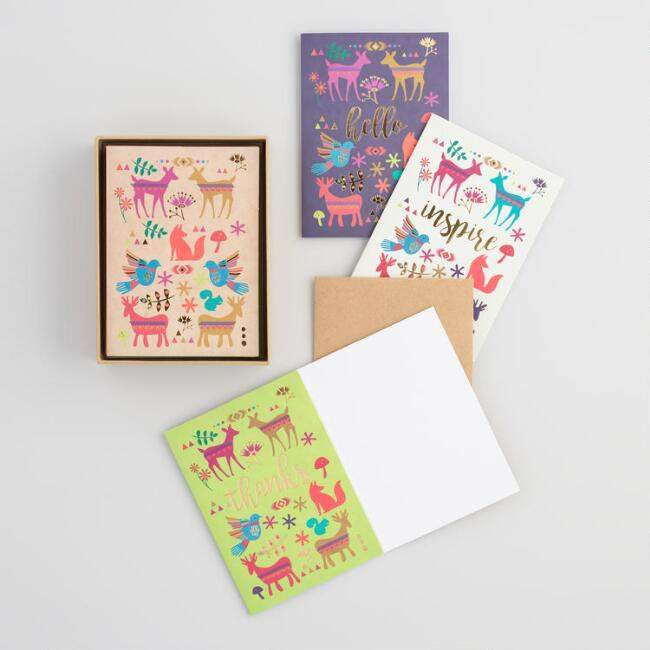 Woodland Boho Kraft Notecards Set of 12