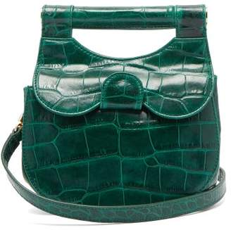 STAUD Mini Madeline Leather Cross Body Bag - Womens - Dark Green